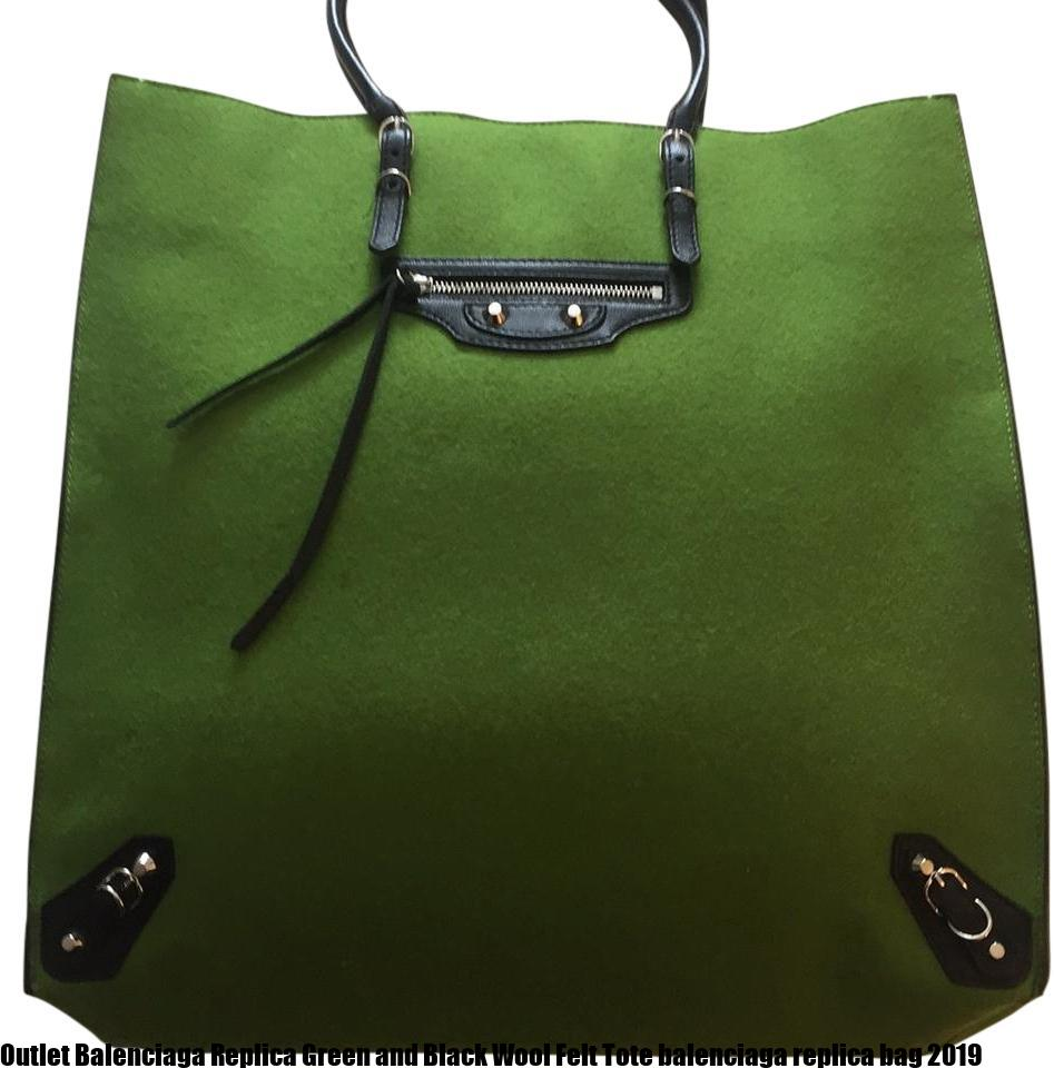 Outlet Balenciaga Replica Green and Black Wool Felt Tote balenciaga replica  bag 2019 095a07bbe8be0