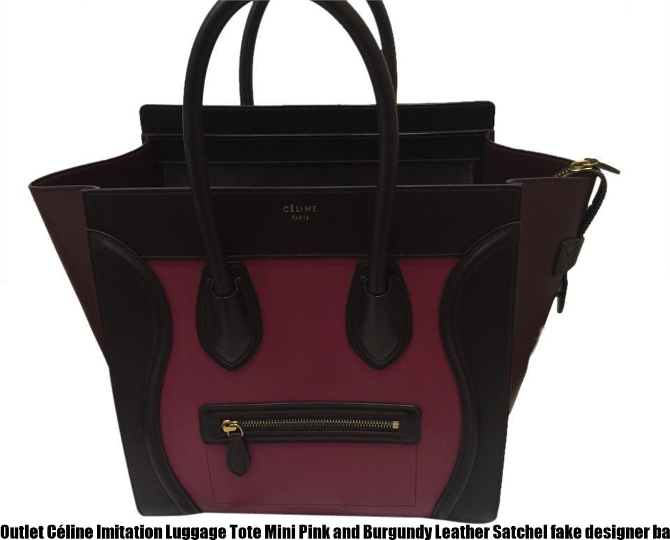 Outlet Céline Imitation Luggage Tote Mini Pink and Burgundy Leather Satchel  fake designer bags china a8e28183bd1a3