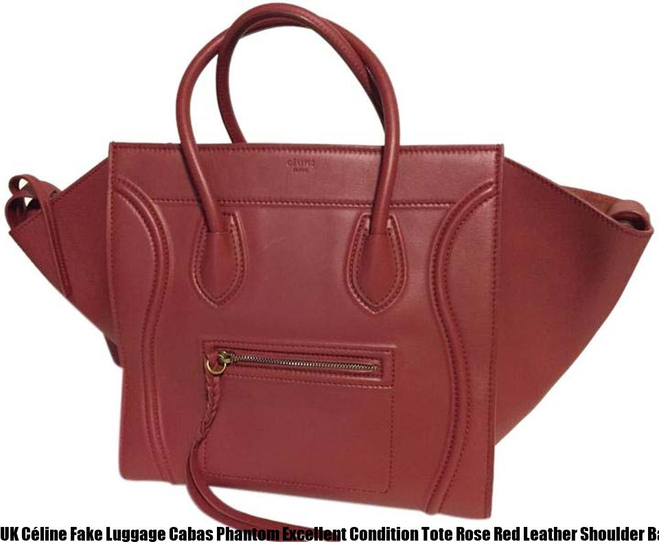 bfce45055adb UK Céline Fake Luggage Cabas Phantom Excellent Condition Tote Rose Red Leather  Shoulder Bag celine replica